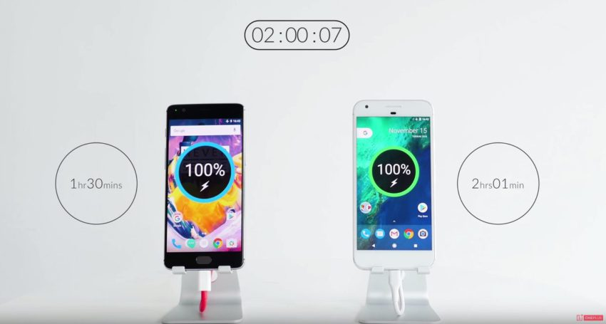 OnePlus 3T quick_charge_OnePlus3T_Google_PixelXL-850x455