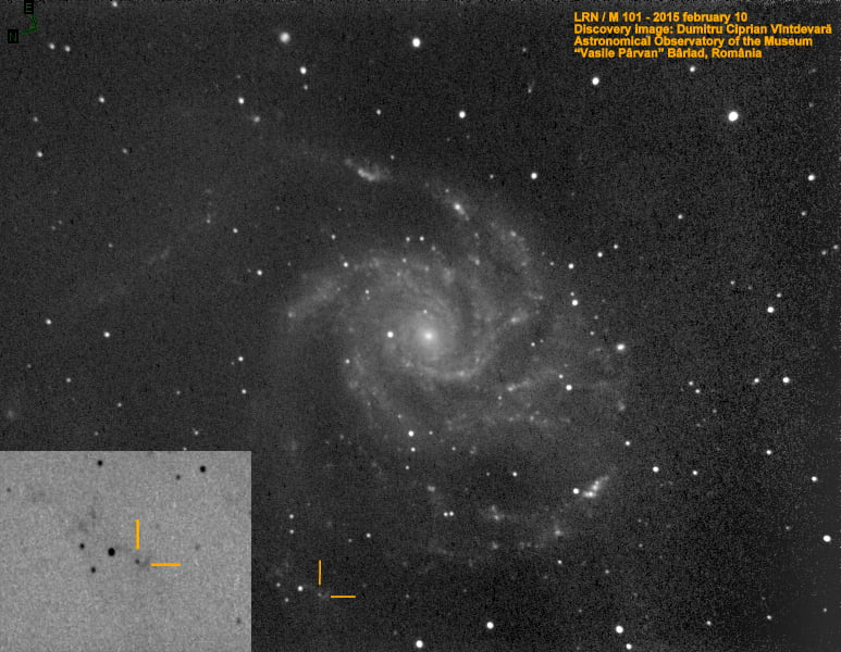 Foto Novă Roșie Luminoasă descoperită la Bârlad