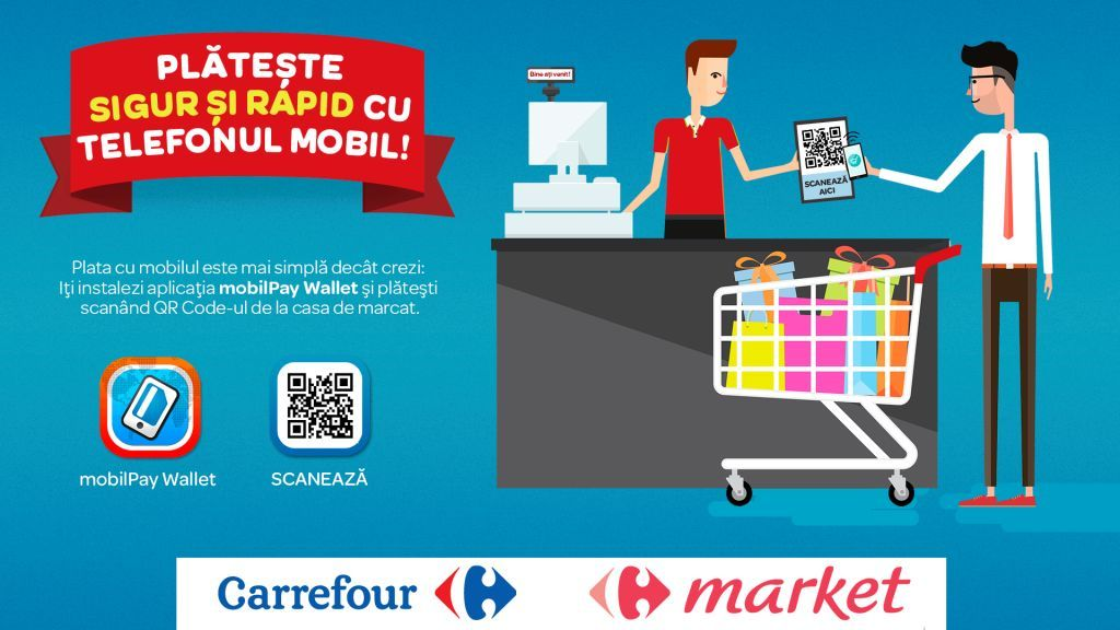 Plăţi cu telefonul mobil, la Carrefour mobilpay-@carrefour