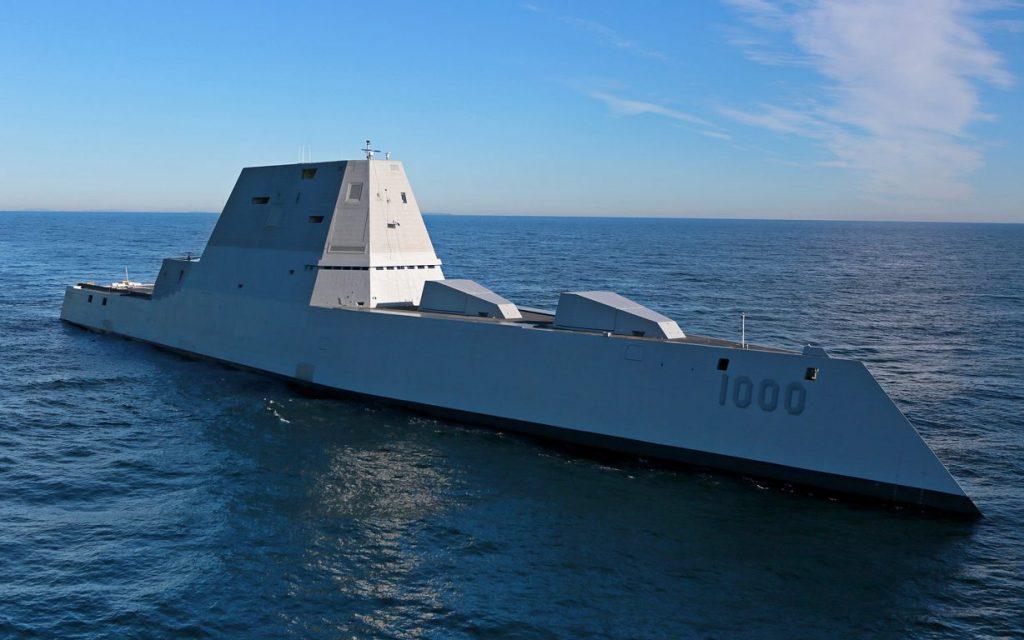 Distrugătorul invizibil USS Zumwalt, tras pe linie moartă