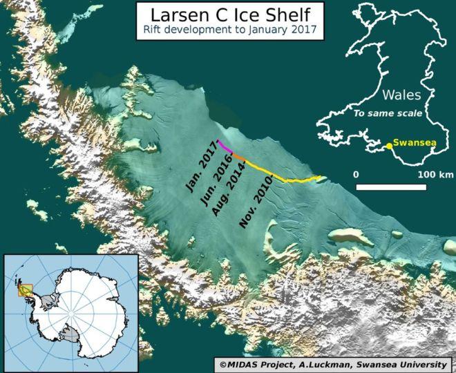 larsen c Unul-dintre-cei-mai-mari-gheţari-din-Antarctica-Larsen-C-se-desprinde