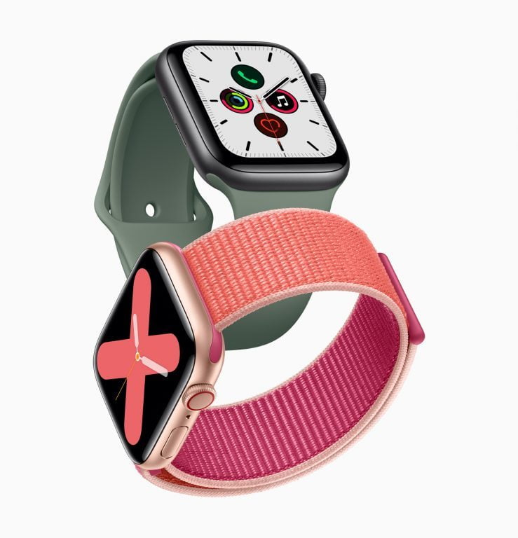 iphone 11 Apple_watch_series_5-gold-aluminum-case-pomegranate-band-and-space-gray-aluminum-case-pine-green-band-091019-739x768