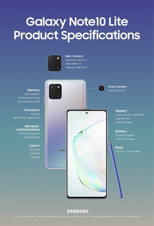 galaxy s10 lite Galaxy_Note10Lite_Product_Specifications